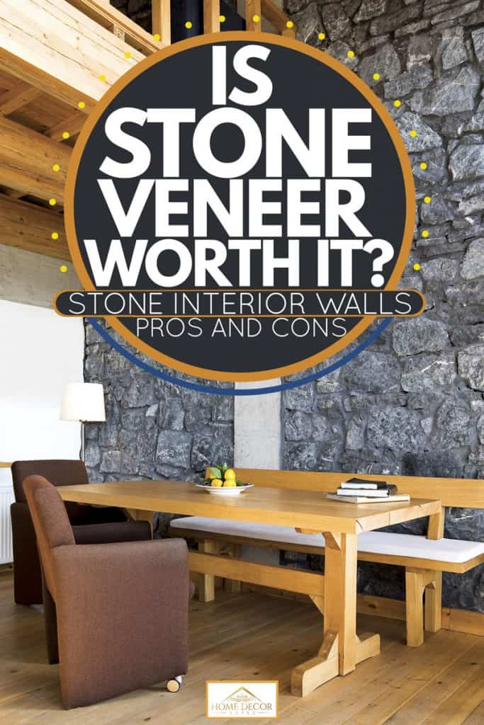 A rustic themed house with matching furniture's and a faux covered fireplace, Is Stone Veneer Worth It? Stone Interior Walls Pros and Cons