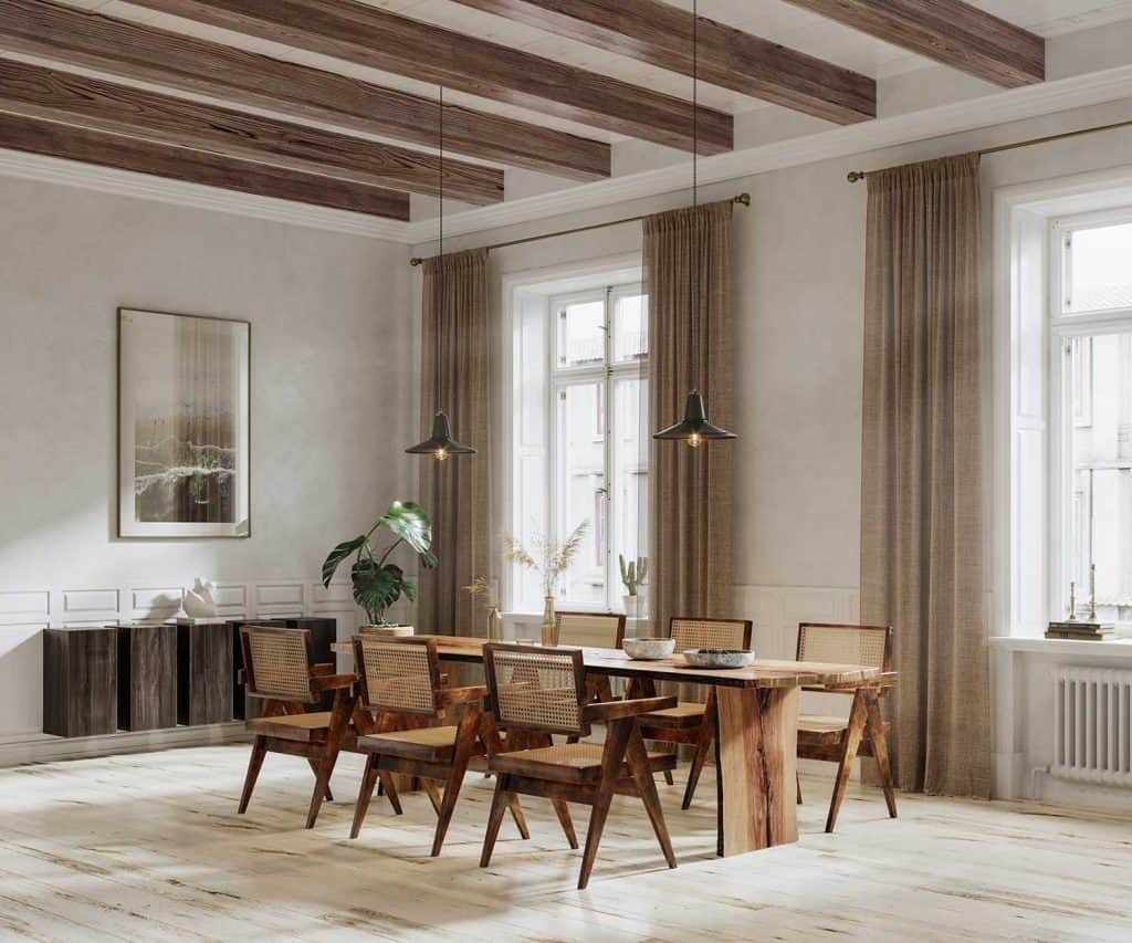 Large and luxurious interiors of a house with six chair wooden dining table