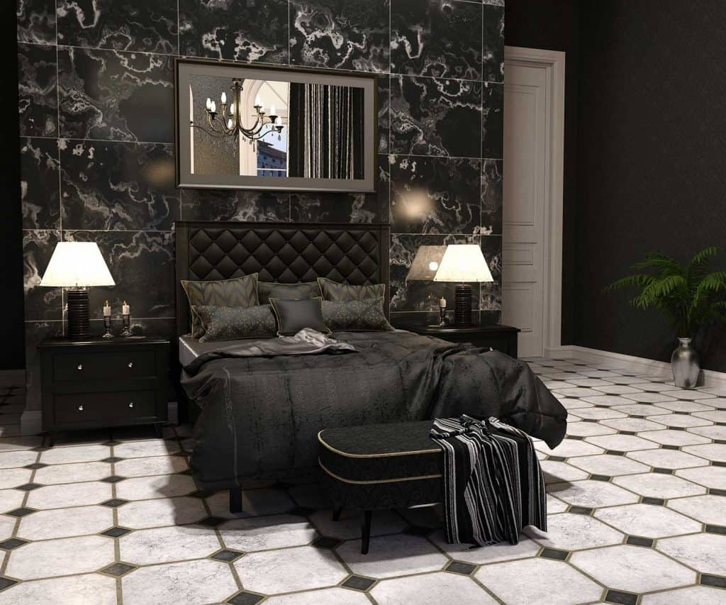 Luxury goth bedroom interior in black and white