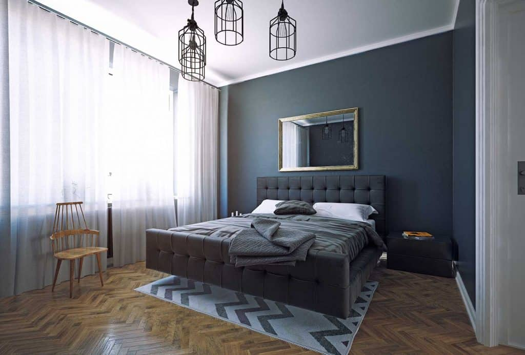 Modern dark style bedroom interior design with mirror above bed
