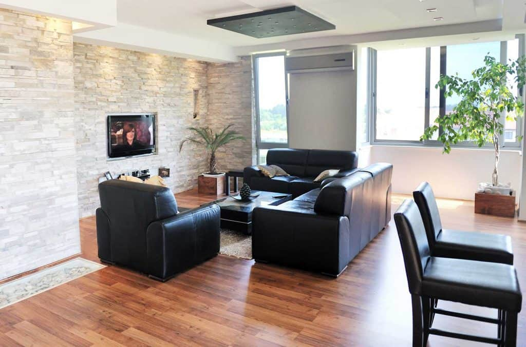 Modern living room interior with black leather sofa set