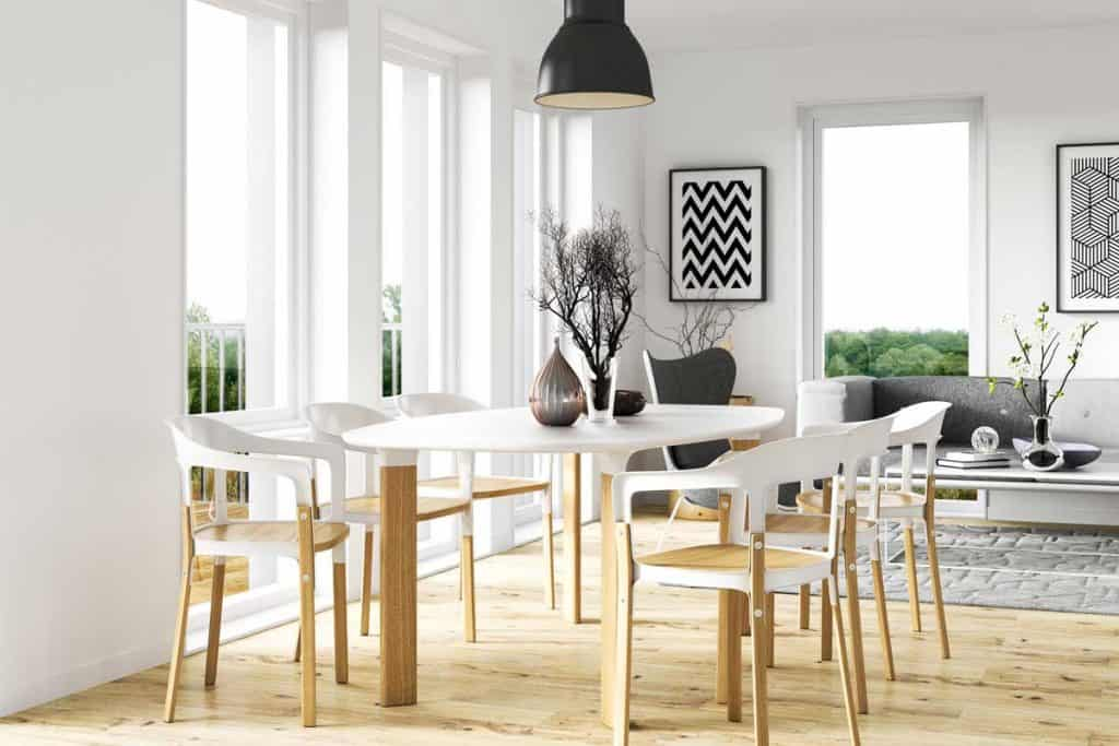Scandinavian theme dining room interior with oval dining table