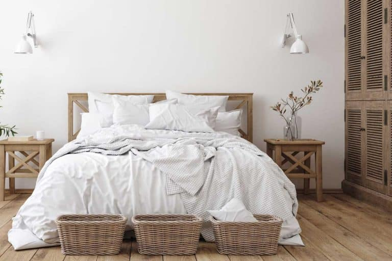 Scandinavian farmhouse bedroom interior with wooden furnitures, How to Repaint or Restain Bedroom Furniture