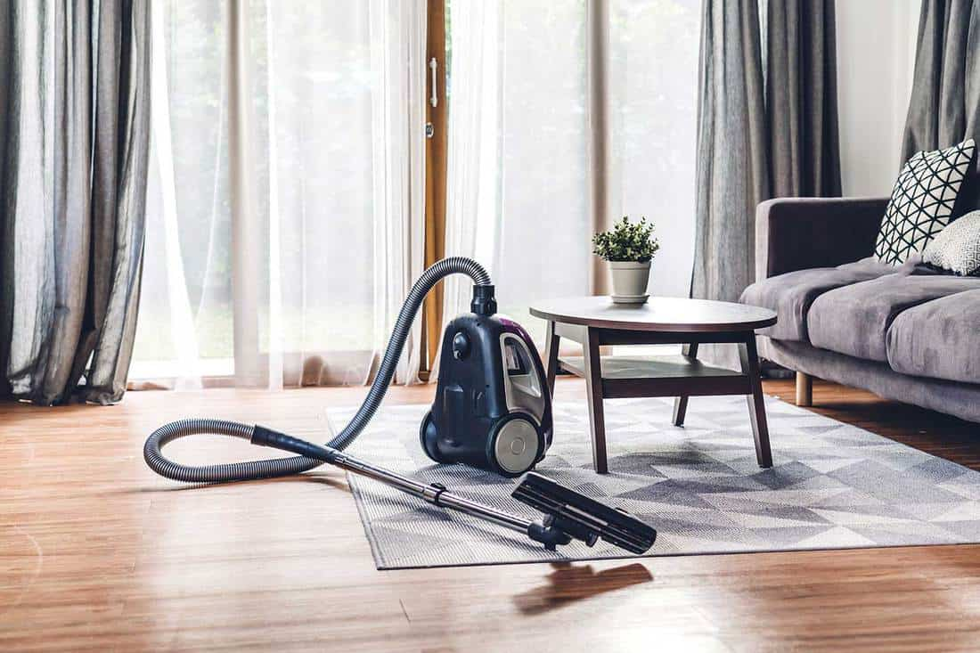 Vacuum cleaner in living room at home