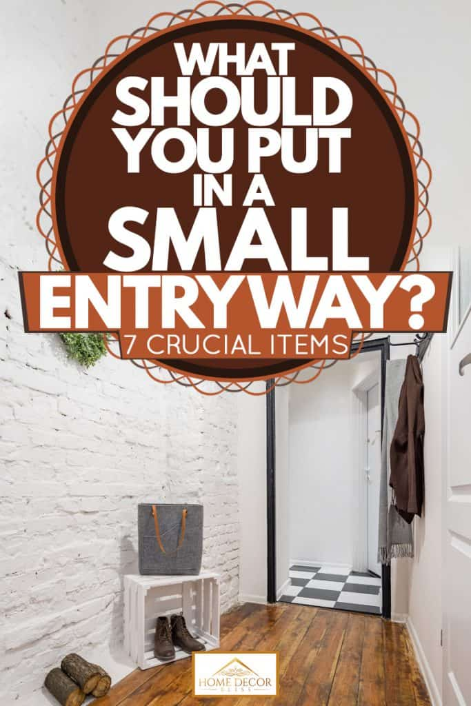 A small entryway with white colored brick vinyl laminated wooden flooring, What Should You Put In A Small Entryway? [7 Crucial Items]