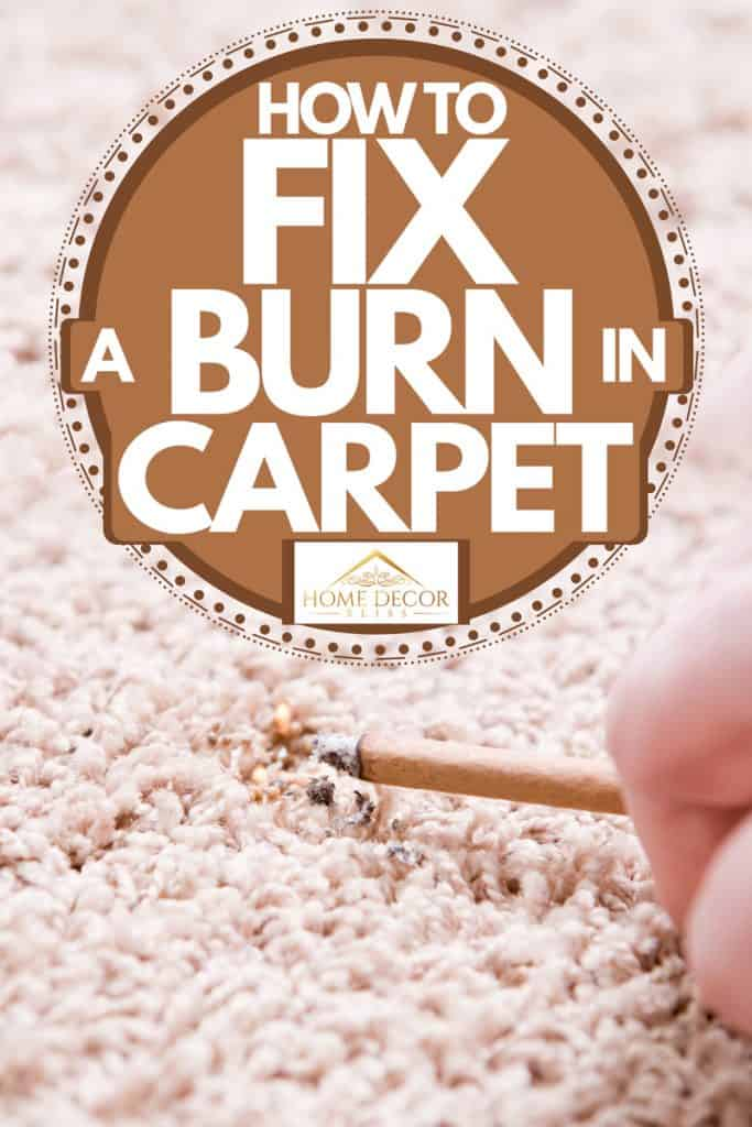 A man picking up a cigarette on the carpet and leaving a burn on it, How to Fix a Burn in Carpet