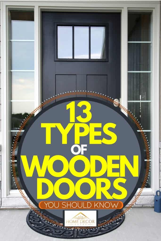 A black hardwood door with glass windows on the side, 13 Types of Wooden Doors You Should Know