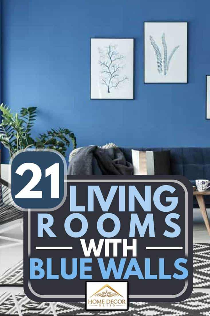 A blue colored wall with a dark blue colored chair and checkered rug on the center of the living room, 21 Living Rooms With Blue Walls