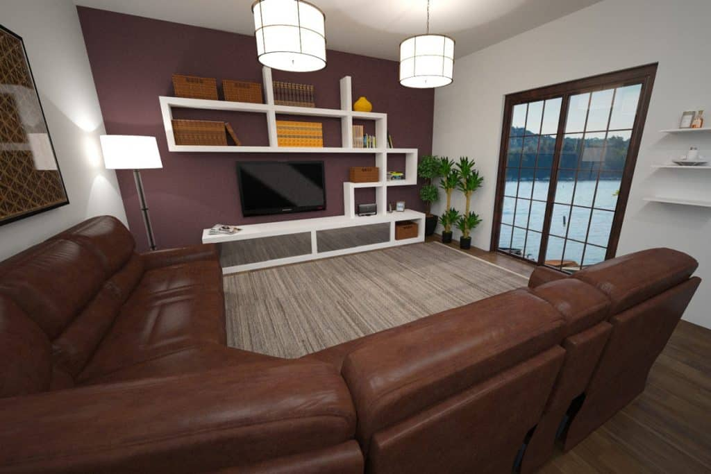 A classic contemporary design living room with a brown sectional sofa abstract designed dividers and a dark purple colored accent wall