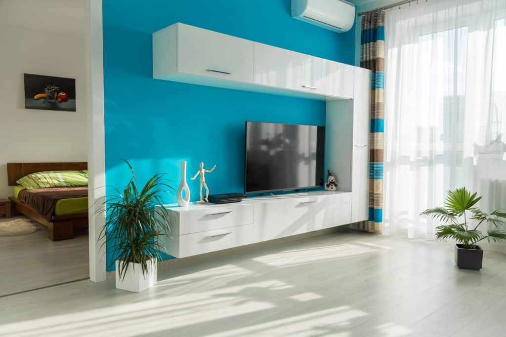 A light blue colored wall on the living room area with a white laminated panel cabinets and indoor plants in the room