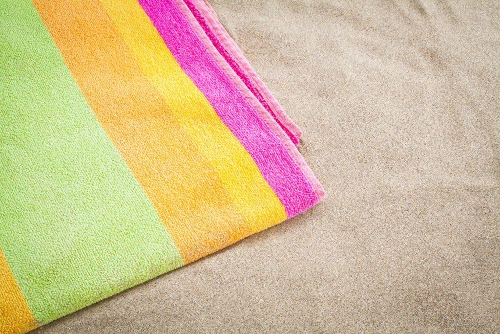A multi-colored bath towel