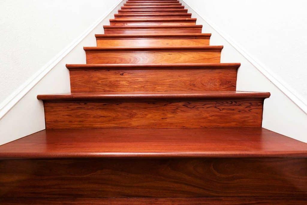 Beautiful Santos mahogany wooden stairs leading up