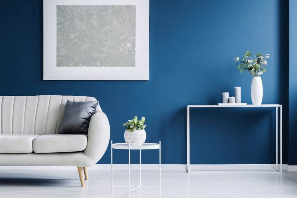 Blue painted living room wall with an indoor plant on a table and a matching white colored couch