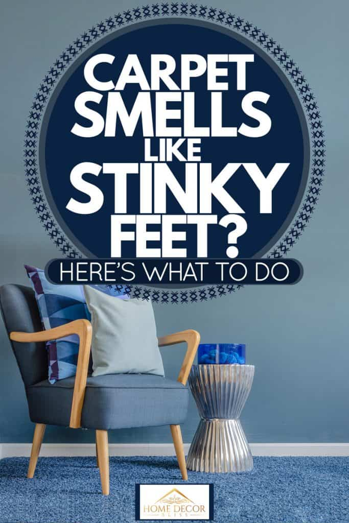 A blue themed room with a blue carpet, blue walls and a blue chair with throw pillows on it, Carpet Smells Like Stinky Feet? Here's What To Do