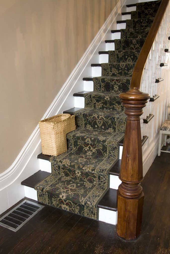 Carpeted staircase of a modern home