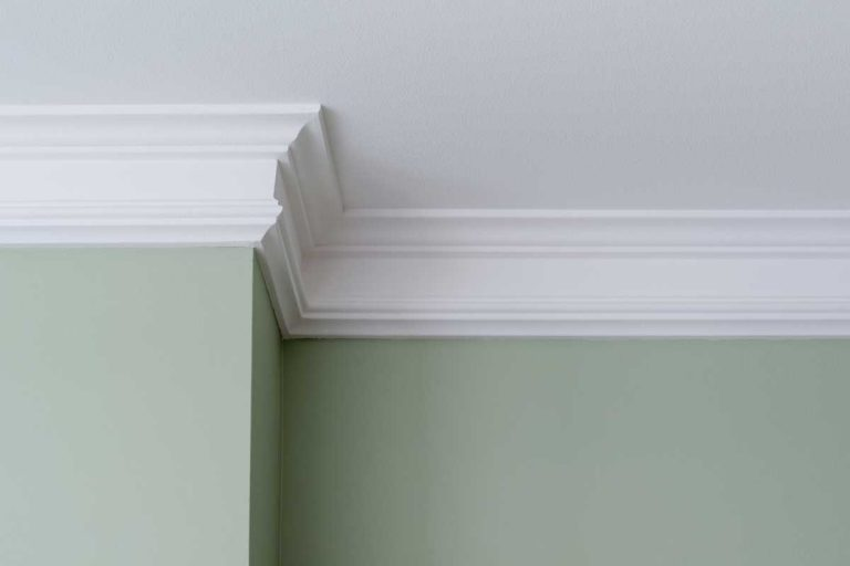 Ceiling moldings in a house with green wall, How To Paint Crown Molding Without Brush Marks
