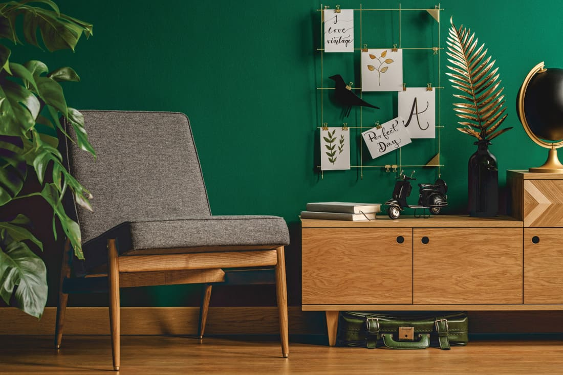 Cozy, green, retro living room interior with chair, cupboard, plant, decorations and wooden floor