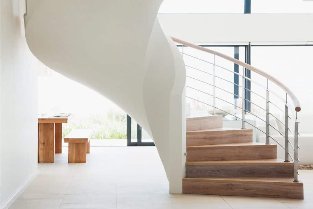 Curving staircase in a modern home