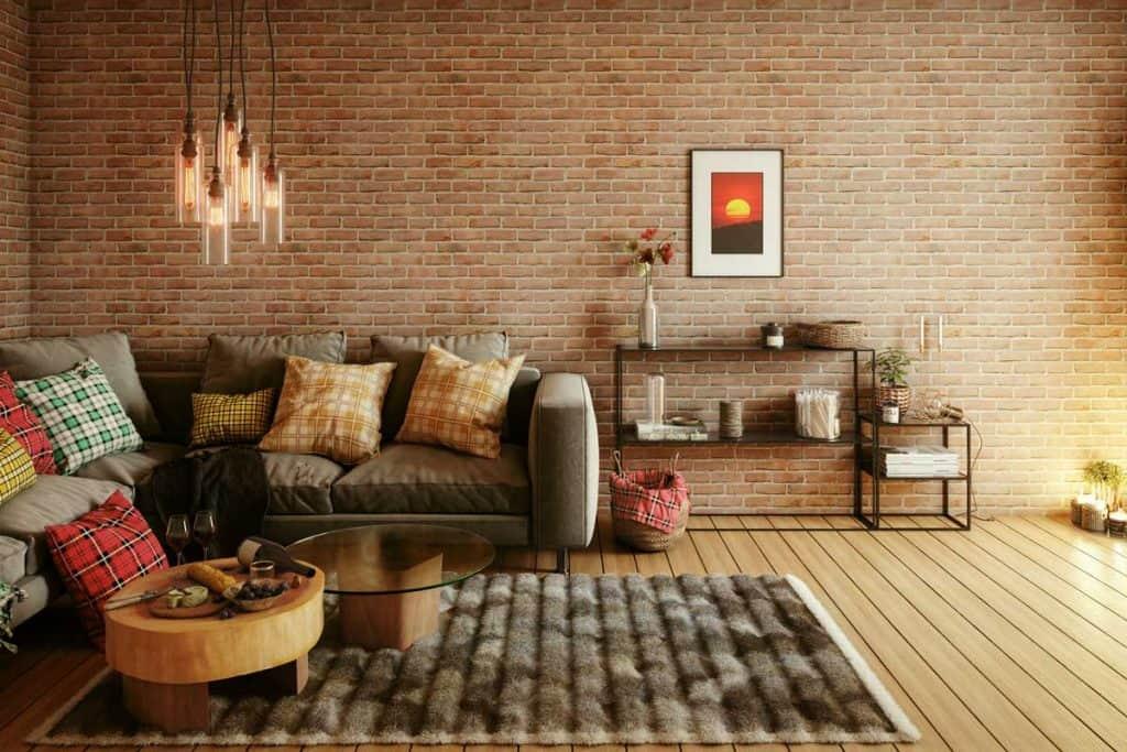 Warm and cozy living room interior design