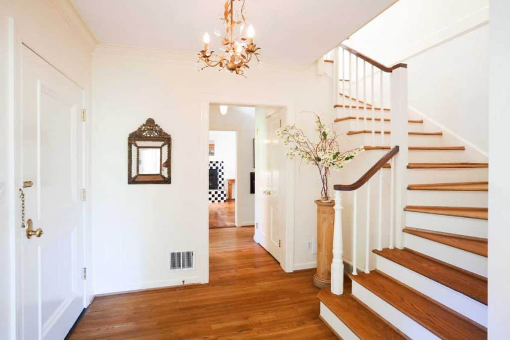 Front entrance to beautiful home with newly made stairs, Are New Stairs Supposed To Creak? [And How To Stop That]