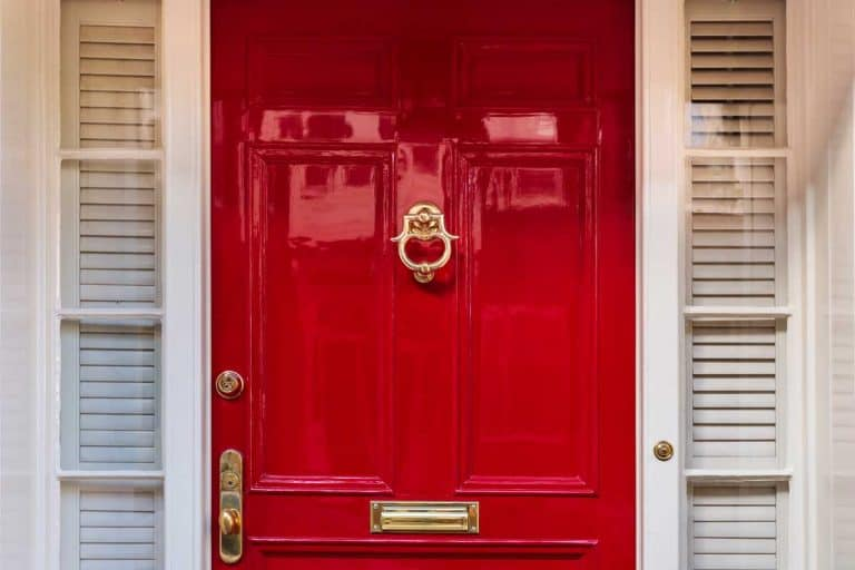 Glossy red front door of a house, How To Gloss A Door in 6 Steps