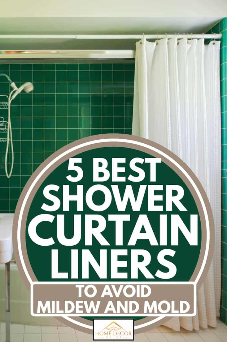 Green tiled bathroom with white suite and shower curtain, 5 best shower curtain liners to avoid mildew and mold