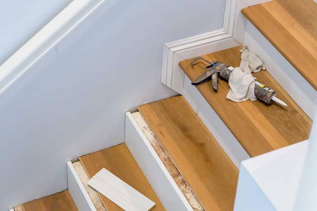 Hardwood floor installation on stairs