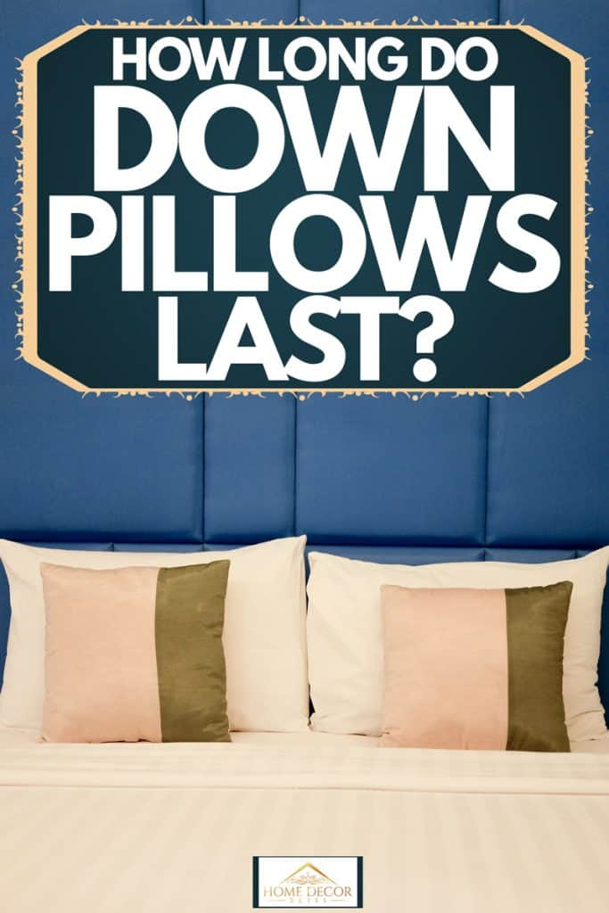 White down pillows standing next to a blue wall with two other pillows placed next to it, How Long Do Down Pillows Last?