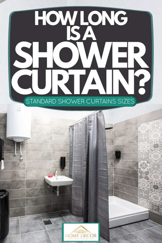 Gray themed bathroom with gray tiles on the floor and wall matched with a gray shower curtain, How Long Is A Shower Curtain? [Standard Shower Curtains Sizes]