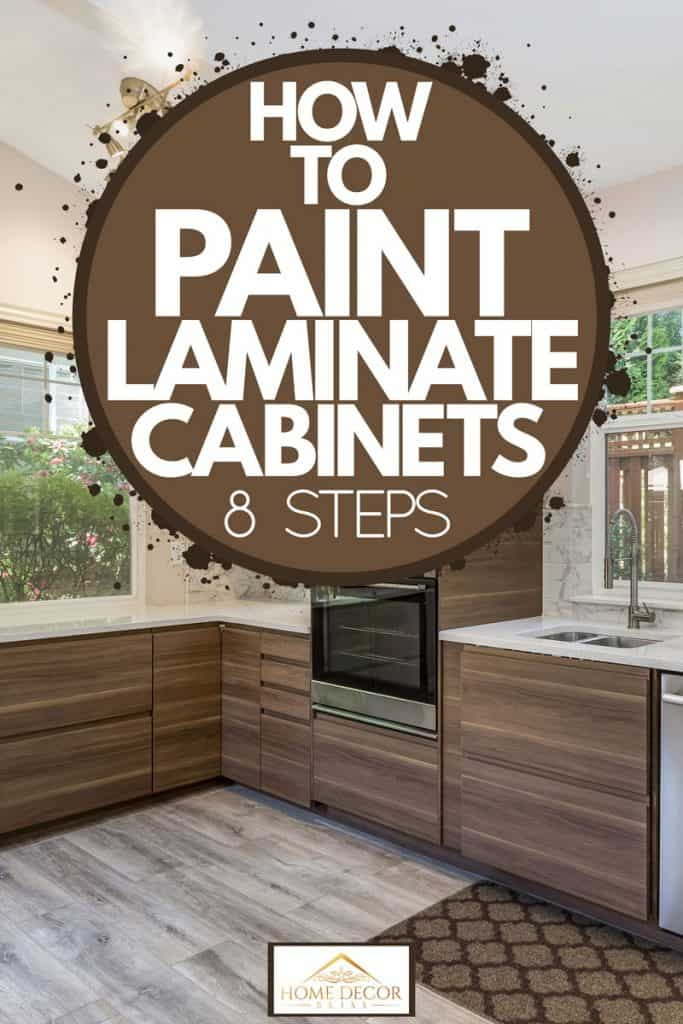 Modern kitchen with wooden laminated panels and a white countertop with hanging white paneled cabinets, How To Paint Laminate Cabinets [8 Steps]