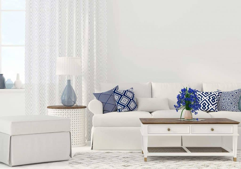 Interior of the living room in white and blue color