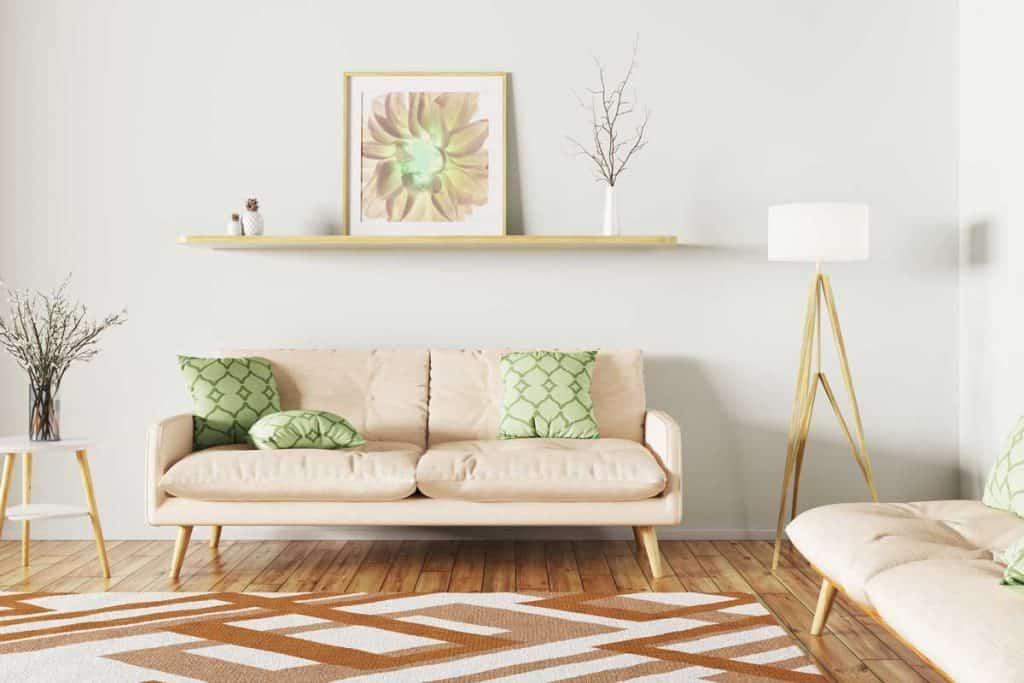 Modern interior design of living room with sofa, shelf, rug and floor lamp