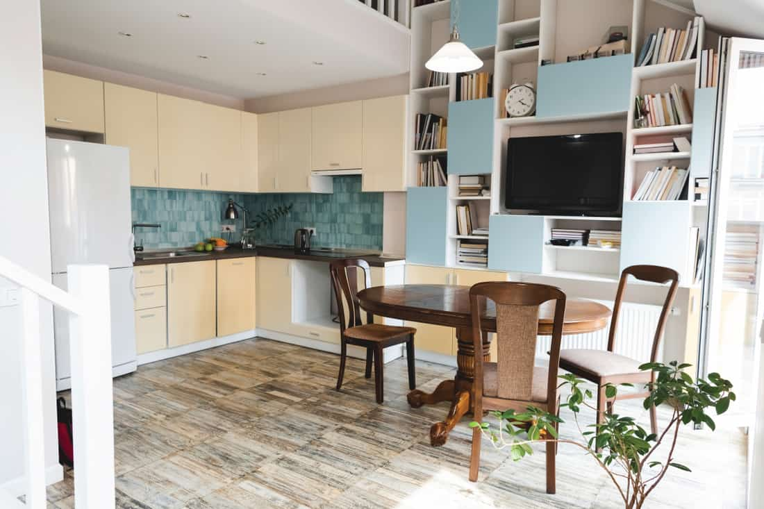 modern kitchen with wooden table and chairs, Dining Table Alternatives