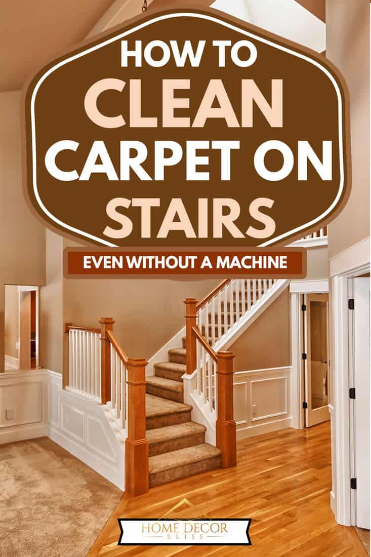 New double foyer stairs with clean carpet and hardwood floors, How To Clean Carpet On Stairs [Even without a machine]