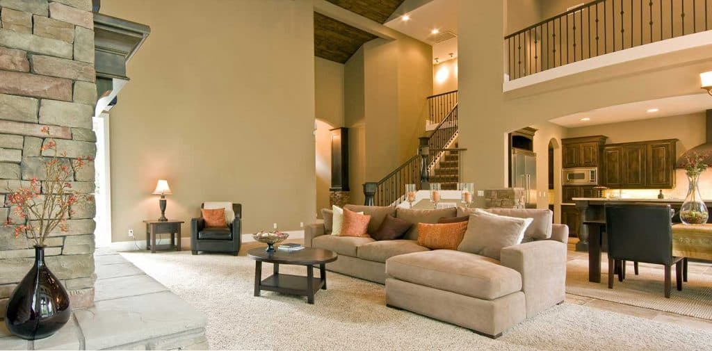 Panoramic view of a luxury home living room
