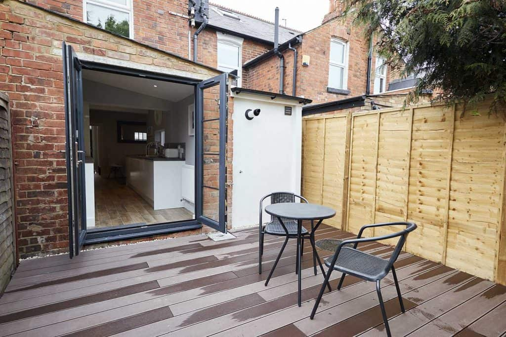 Patio area at the back of a newly refurbished terraced house