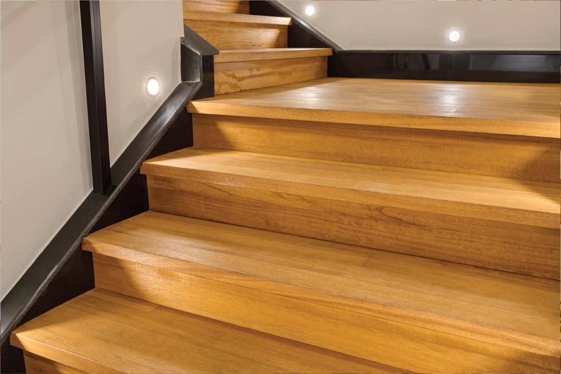 wooden steps on a staircase in a residential building