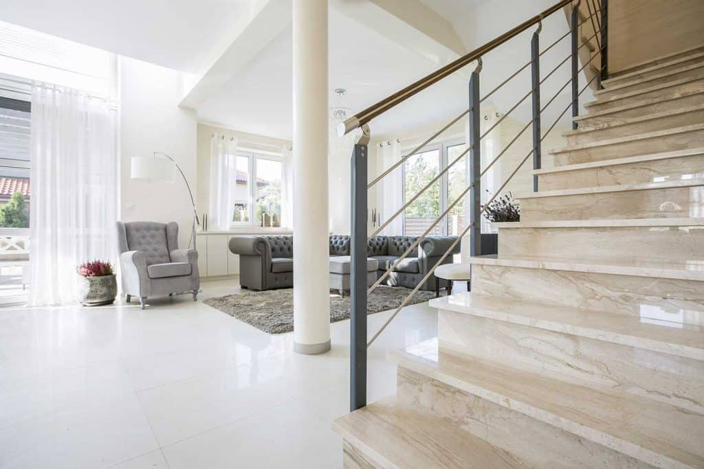Staircase placed in modern living room