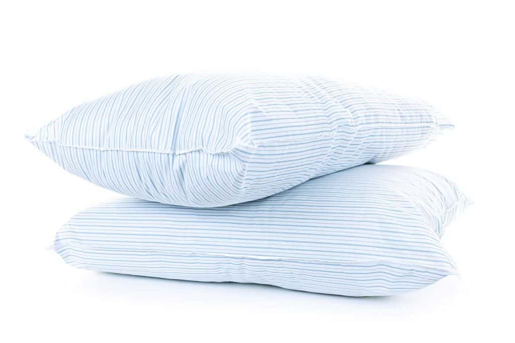 Two comfy pillows with blue stripe color pillowcase