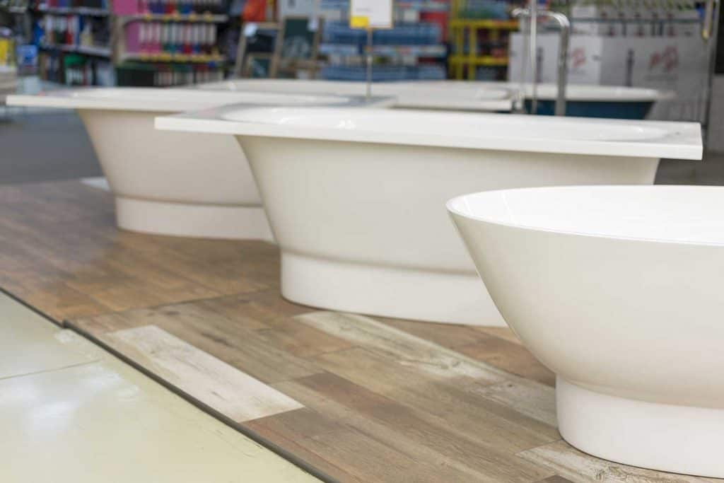 White bathtubs in the building store