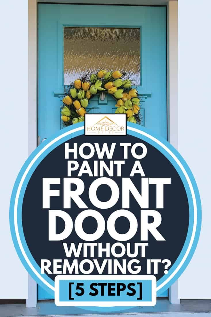 blue repainted front door with Christmas wreath hang, how to paint a front door without removing it