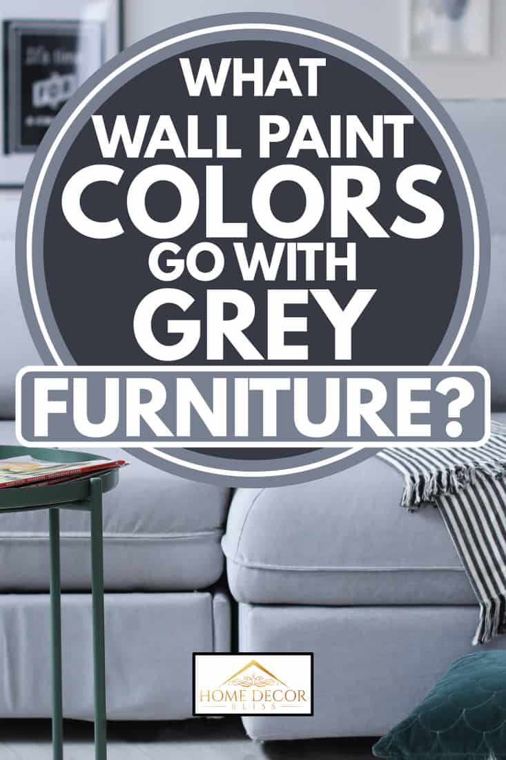 grey sofa with accented throw pillows and wooden coffee table in front, what wall pain colors goes with grey furniture