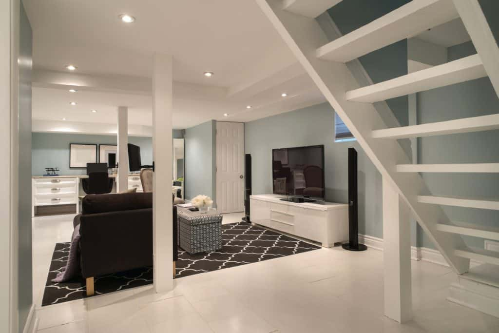 Interior of a modern urban bungalow with fully furnished basement