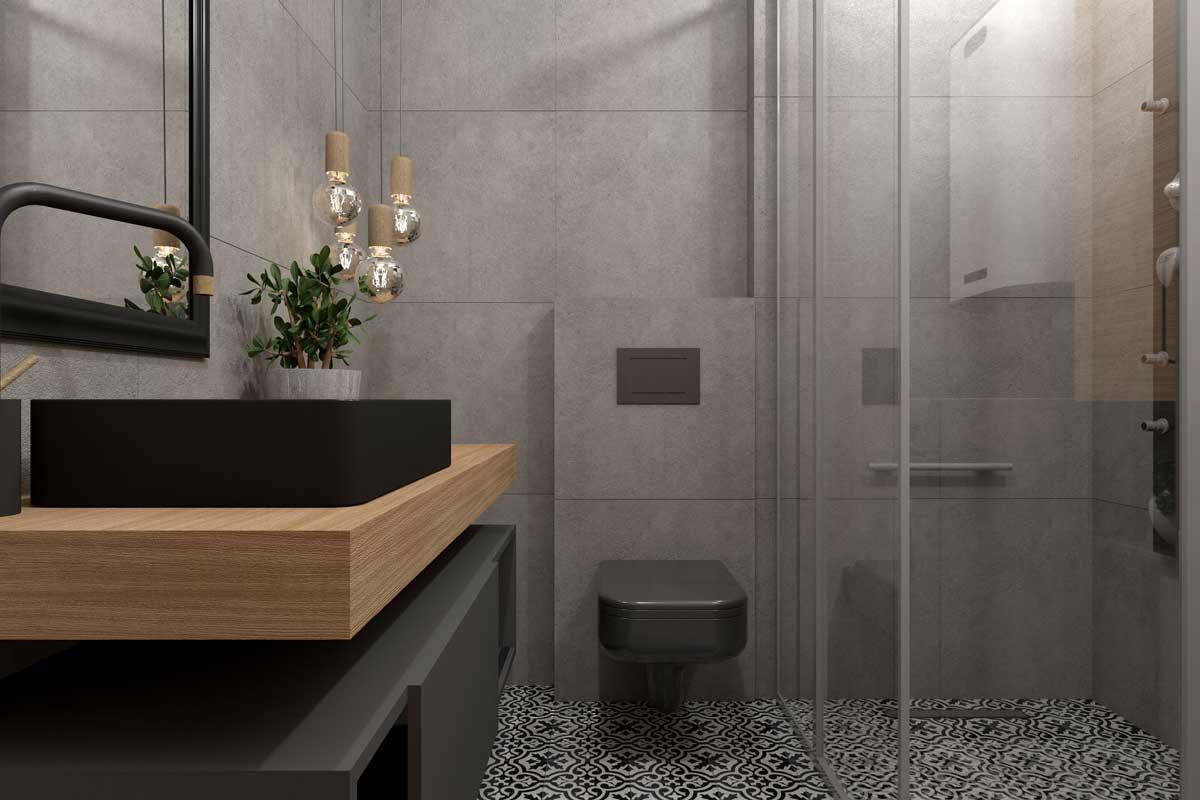 matte black bathroom fixtures in modern industrial style bathroom