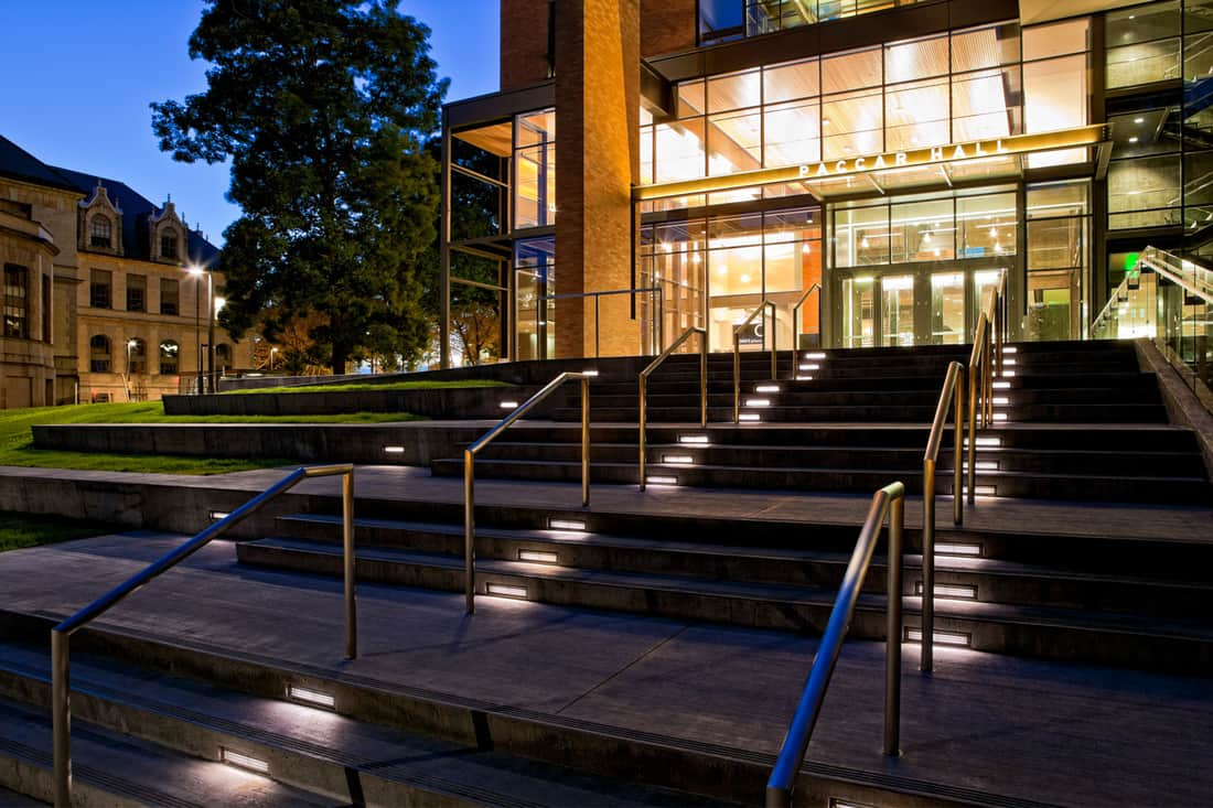 University of Washington's Paccar Hall at night with stair lights