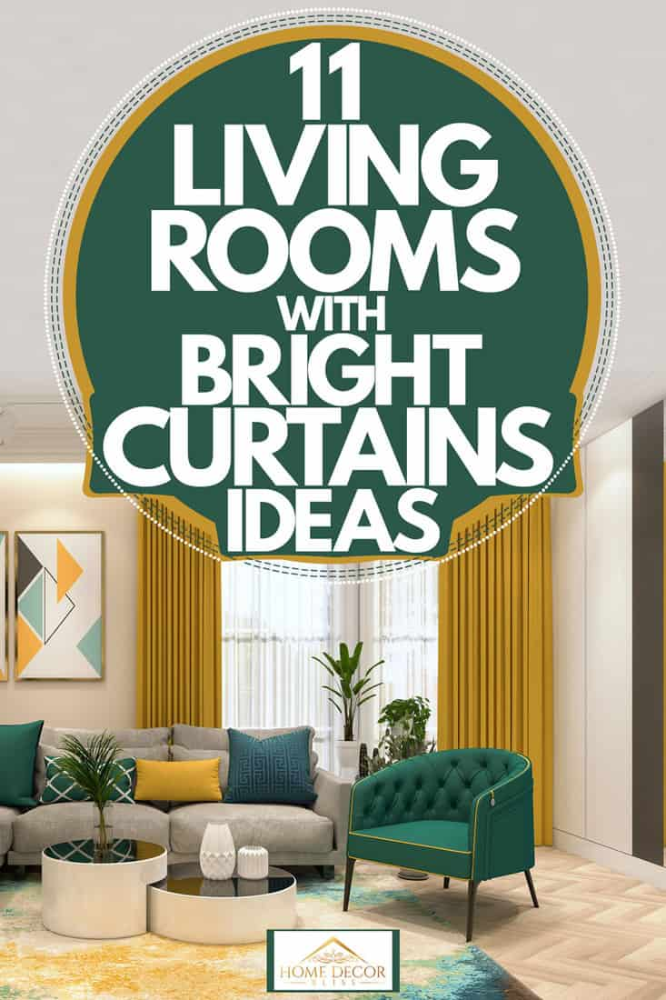 A bright living room with mustard yellow colored curtains, dark green colored chair and gray colored couch, 11 Living Rooms With Bright Curtains Ideas