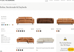 Poly and Bark sectional sofa website product page