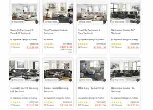 Coleman Furniture sectional sofa website product page