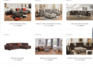 Farmer's Home Furniture sectional sofa website product page