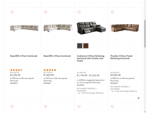 Ashley sectional sofa website product page